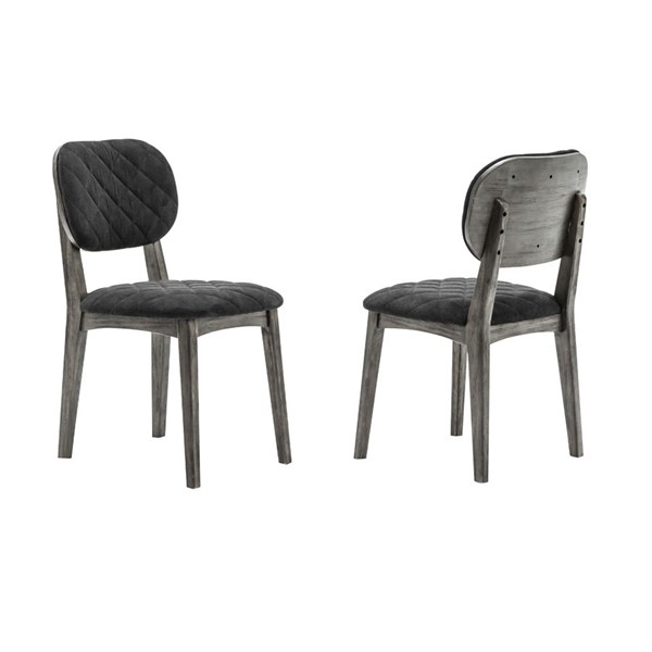 2 Armen Living Katelyn Tundra Grey Midnight Dining Chairs ARM-LCKASITGMN