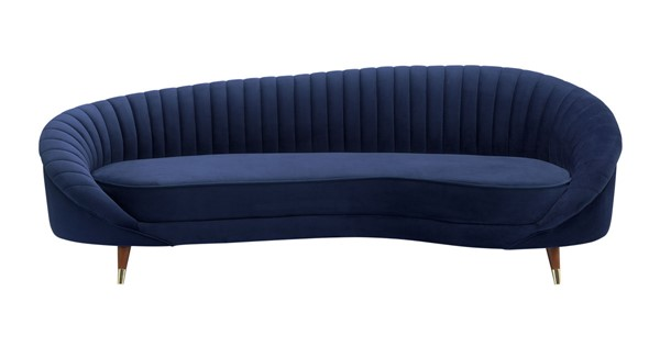 Armen Living Karisma Navy Blue Curved Velvet Sofa ARM-LCKR3NAVY