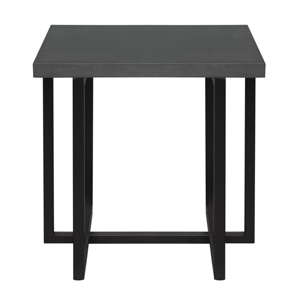 Armen Living Logan Black Grey End Table ARM-LCLGLAGR