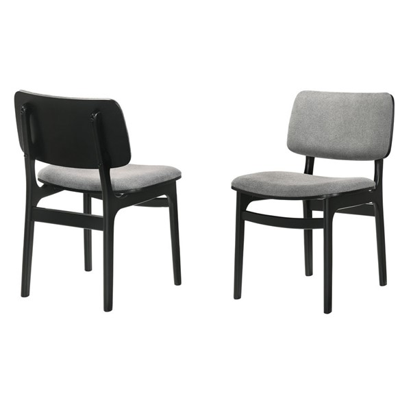 2 Armen Living Lima Black Grey Fabric Dining Accent Chairs ARM-LCLMSIGRBL