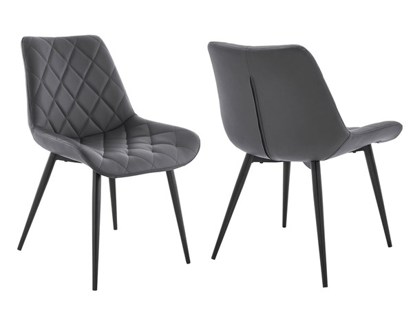 2 Armen Living Loralie Gray Faux Leather Dining Chairs ARM-LCLRSIBLGR