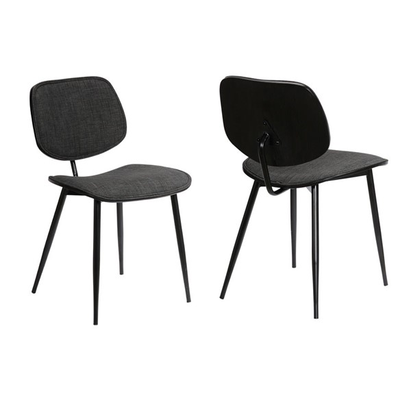 2 Armen Living Lizzy Modern Black Powder Coated Charcoal Dining Accent Chairs ARM-LCLZSIBLCH