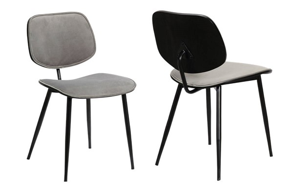 2 Armen Living Lizzy Modern Black Powder Coated Grey Velvet Dining Accent Chairs ARM-LCLZSIBLGR