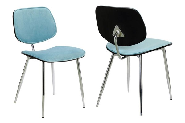 2 Armen Living Lizzy Modern Black Light Blue Velvet Dining Accent Chairs ARM-LCLZSICHRBLU