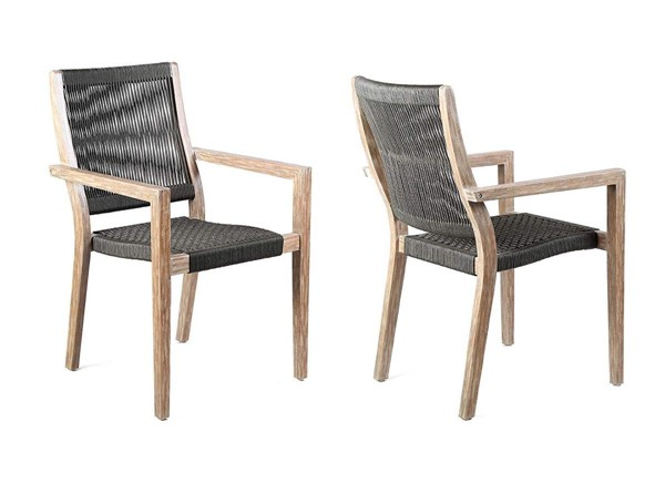 2 Armen Living Madsen Teak Light Charcoal Rope Outdoor Patio Arm Chairs ARM-LCMASICHEU