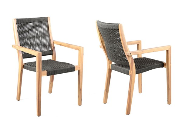 2 Armen Living Madsen Teak Charcoal Rope Outdoor Patio Arm Chairs ARM-LCMASICHTK