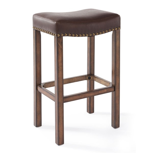 Armen Living Tudor Chestnut Faux Leather 26 Inch Counter Height Stool ARM-LCMBS013BAKA26