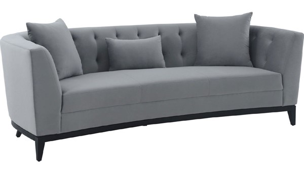 Armen Living Melange Gray Velvet Black Wood Base Sofa ARM-LCMG3GREY