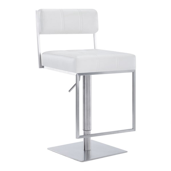 Armen Living Michele White Faux Leather Bar Stool ARM-LCMISWBABSWH