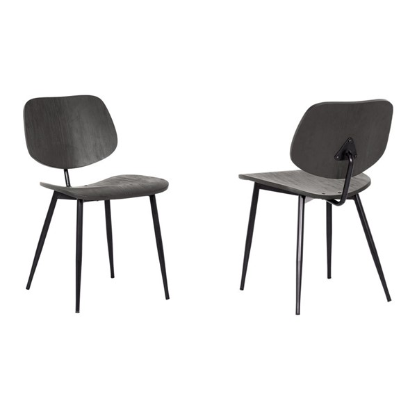 2 Armen Living Miki Black Wood Dining Accent Chairs ARM-LCMKSIBL