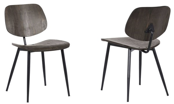 2 Armen Living Miki Walnut Wood Dining Accent Chairs ARM-LCMKSIWA