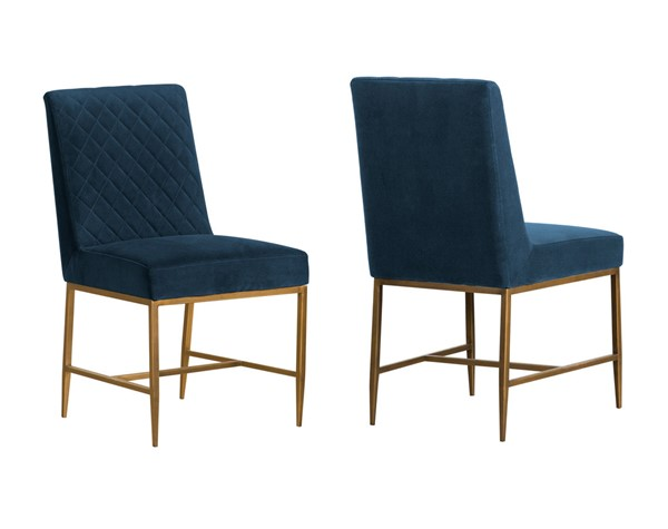 Armen Living Memphis Velvet Antique Brass Legs Dining Chairs ARM-LCMMSI-DCH-VAR