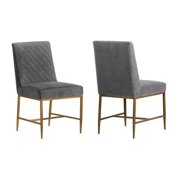 2 Armen Living Memphis Grey Velvet Antique Brass Accent Dining Chairs ARM-LCMMSIGRY