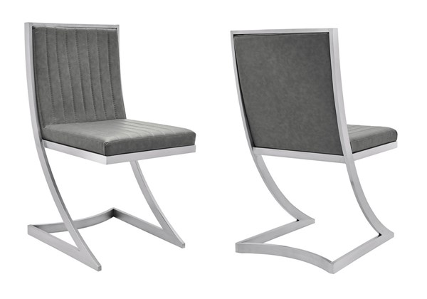2 Armen Living Marc Vintage Gray Faux Leather Dining Chairs ARM-LCMRCHBSVG