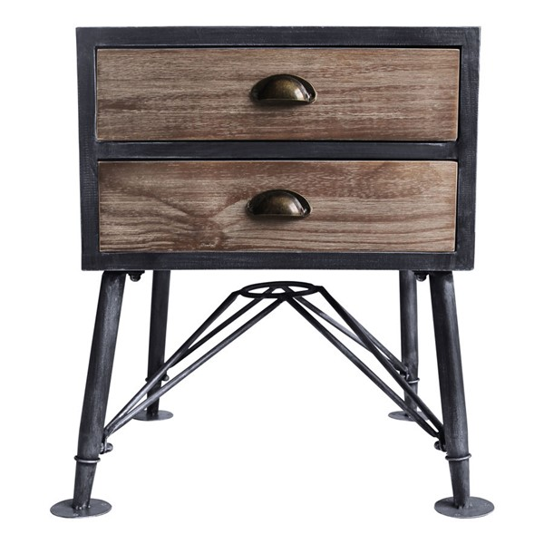 Armen Living Mathis Grey Pine Industrial 2 Drawer End Table ARM-LCMTLASBPI