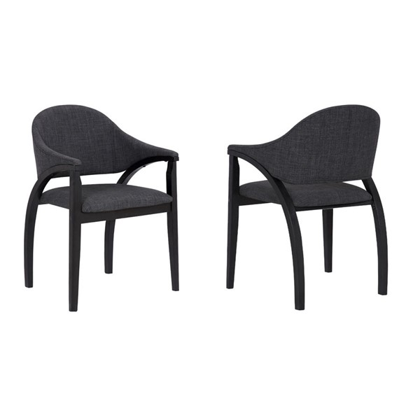 2 Armen Living Meadow Charcoal Dining Chairs ARM-LCMWCHBLCH