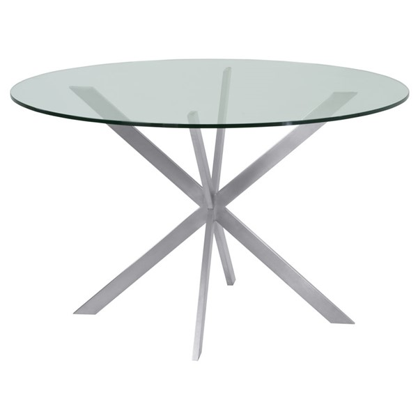 Armen Living Mystere Brushed Round Dining Table ARM-LCMYDITOCLEAR