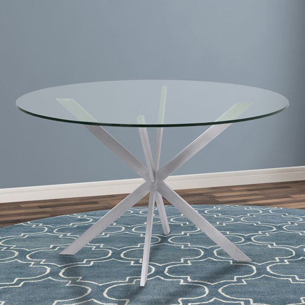 Armen Living Mystere Brushed Gray Glass Top Round Dining Table ARM-LCMYDITOCLEAR-DT-VAR