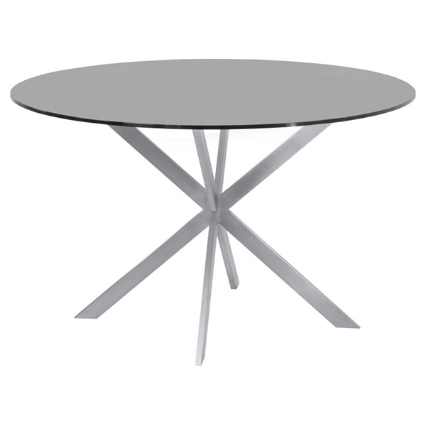 Armen Living Mystere Brushed Gray Round Dining Table ARM-LCMYDITOGREY