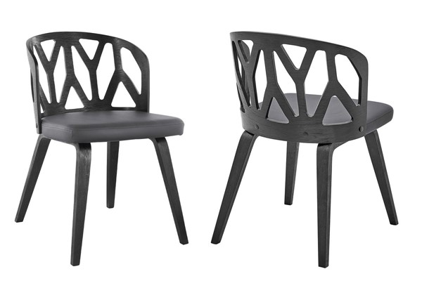 2 Armen Living Nia Gray Faux Leather Black Wood Dining Chairs ARM-LCNISIBLGR