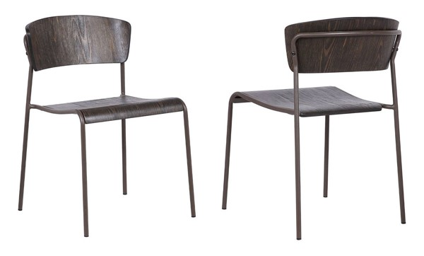 2 Armen Living Nick Brown Walnut and Metal Dining Accent Chairs ARM-LCNKSIBRWA