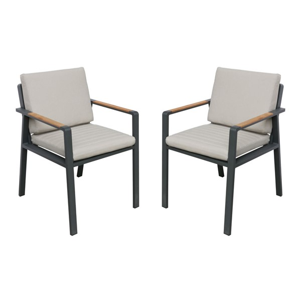 2 Armen Living Nofi Taupe Gray Outdoor Patio Dining Chairs ARM-LCNOCHBE