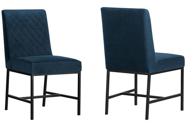 2 Armen Living Napoli Blue Velvet Black Legs Dining Chairs ARM-LCNPSIBLU