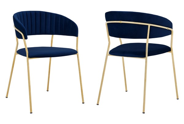 Armen Living Nara Jewel Blue Velvet Gold Metal Leg Dining Chairs ARM-LCNRSIGL-DR-CH-V