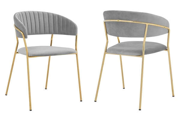 2 Armen Living Nara Gray Velvet Gold Metal Leg Dining Chairs ARM-LCNRSIGLGRY