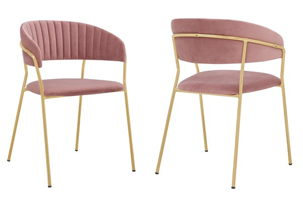 2 Armen Living Nara Rose Pink Velvet Gold Metal Leg Dining Chairs ARM-LCNRSIGLPNK