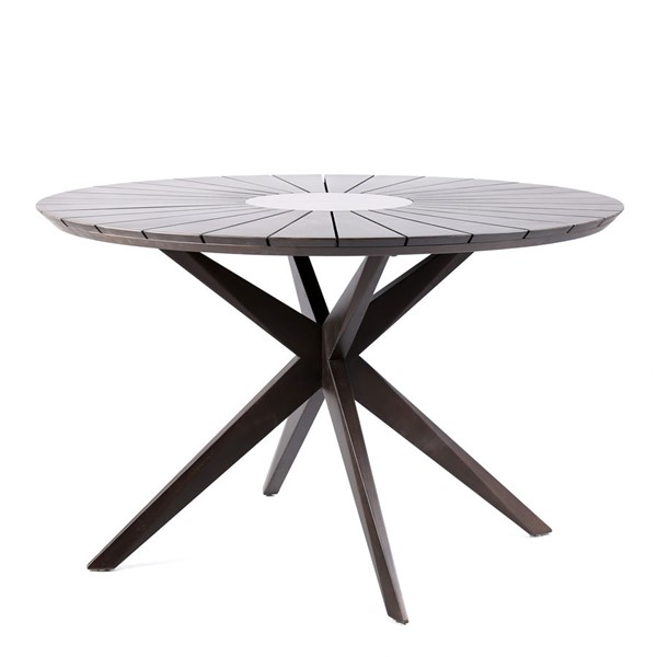 Armen Living Oasis Gray Earth Outdoor Patio Wood Round Dining Table ARM-LCOADIWDDK
