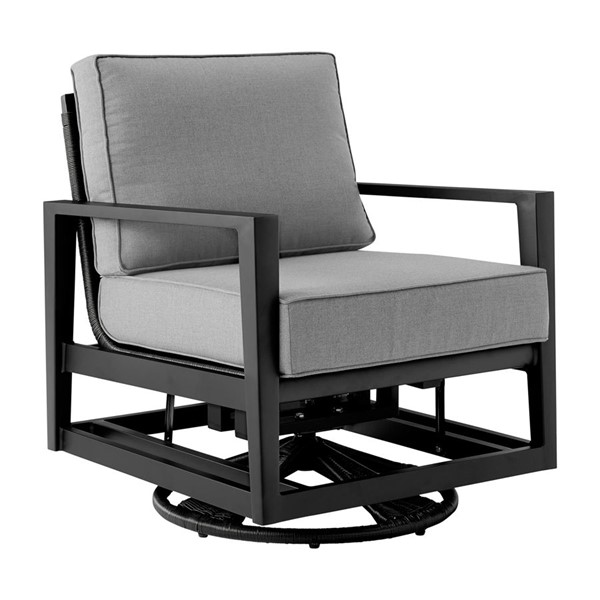 Armen Living Cayman Dark Gray Cushion Black Aluminum Outdoor Swivel Glider Chair ARM-LCODCMCHBL