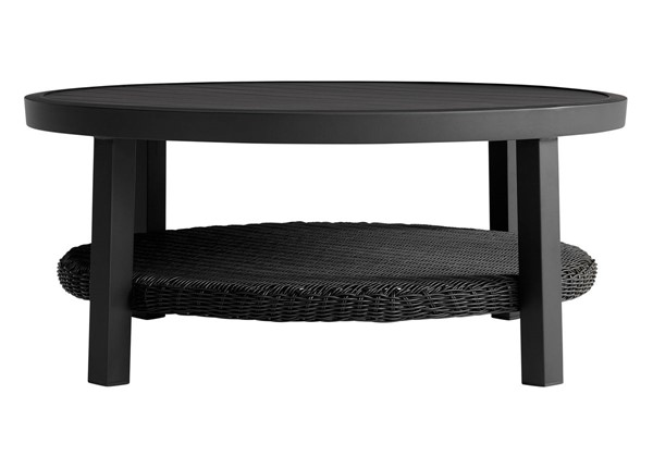 Armen Living Cayman Black Aluminum Outdoor Round Conversation Table with Wicker Shelf ARM-LCODCMCOBL
