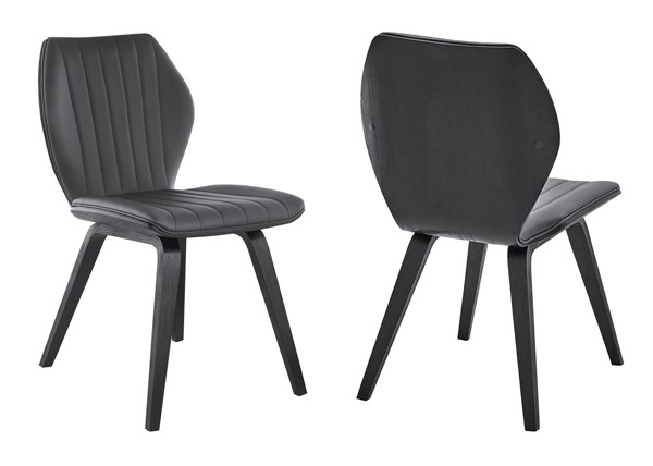 Armen Living Ontario Gray Faux Leather Black Wood Dining Chairs ARM-LCONSI-DR-CH-V