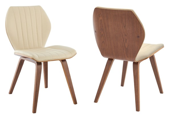 2 Armen Living Ontario Cream Faux Leather Walnut Wood Dining Chairs ARM-LCONSIWACR