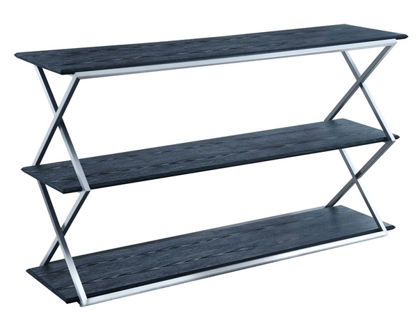 Armen Living Westlake Black 3 Tier Console Table with Brushed Stainless Steel Frame ARM-LCPDCNBLBS