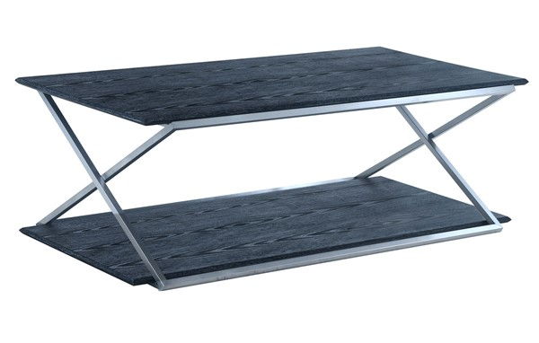 Armen Living Westlake Black Coffee Table with Brushed Stainless Steel Frame ARM-LCPDCOBLBS