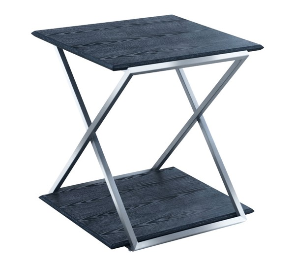 Armen Living Westlake Black End Table with Brushed Stainless Steel Frame ARM-LCPDLABLBS