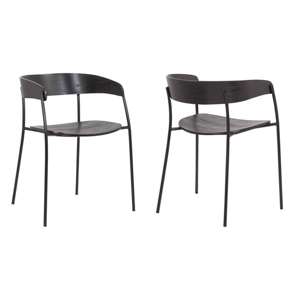 2 Armen Living Perry Black Dining Room Chairs ARM-LCPESIBLBL