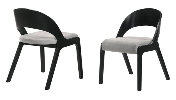 2 Armen Living Polly Black Grey Fabric Dining Accent Chairs ARM-LCPLSIGRBL