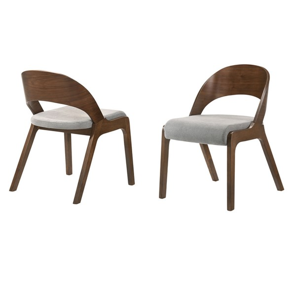 2 Armen Living Polly Walnut Grey Fabric Dining Accent Chairs ARM-LCPLSIGRWA
