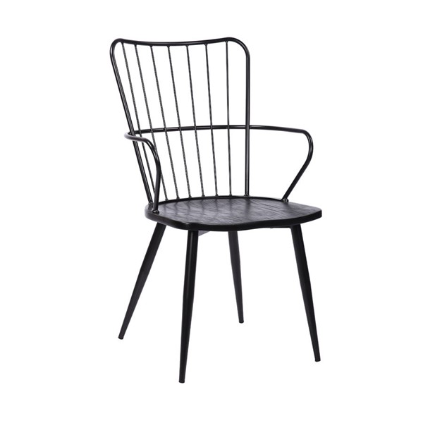 Armen Living Parisa Black Powder Coated Finish and Brushed Wood Side Chair ARM-LCPRSIBLBL