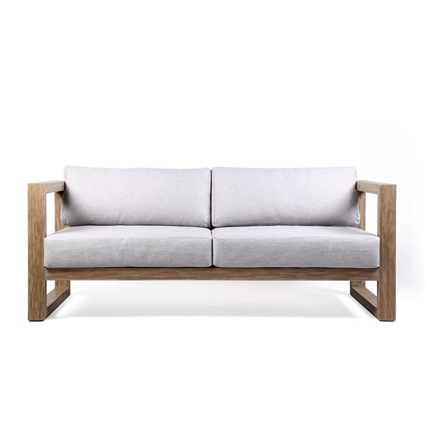 Armen Living Paradise Light Grey Fabric Teak Wood Outdoor Patio Sofa ARM-LCPRSOLALT