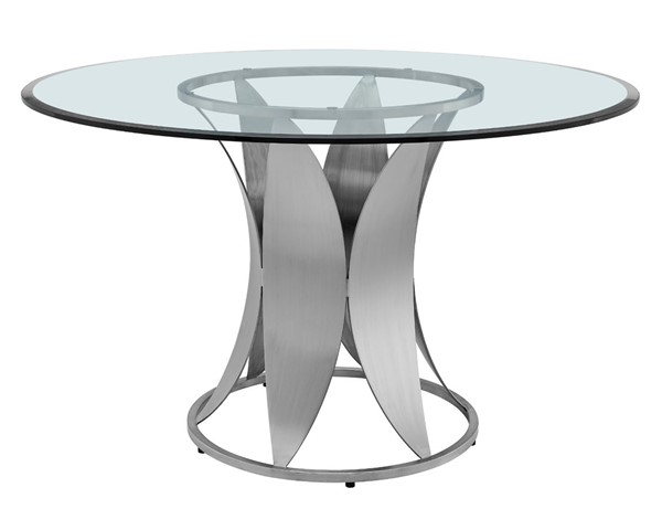Armen Living Petal Glass Top Round Stainless Steel Pedestal Dining Table ARM-LCPTDIGLBS