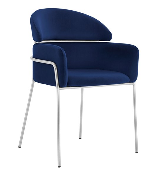 2 Armen Living Portia Blue Velvet Brushed Stainless Steel Dining Chairs ARM-LCPTSIBLUE
