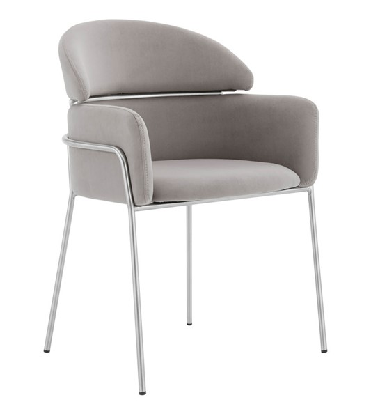 2 Armen Living Portia Gray Velvet Brushed Stainless Steel Dining Chairs ARM-LCPTSIGREY