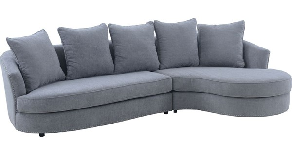 Armen Living Queenly Gray Fabric Sectional Corner Sofa ARM-LCQNCOGR