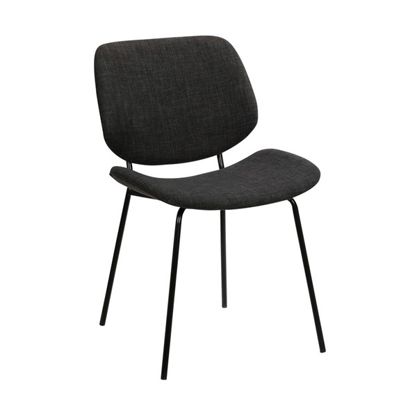 Armen Living Quest Modern Black Powder Coated Charcoal Dining Accent Chair ARM-LCQUSIBLCH