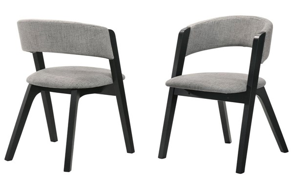 2 Armen Living Rowan Black Grey Fabric Accent Dining Chairs ARM-LCRWSIGRBL