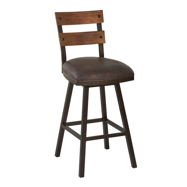 Armen Living Saugus Espresso Faux Leather 30 Inch Swivel Bar Height Stool ARM-LCSABAES30